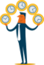 Mortgage Broker Video Appointment - Juggler with Clocks