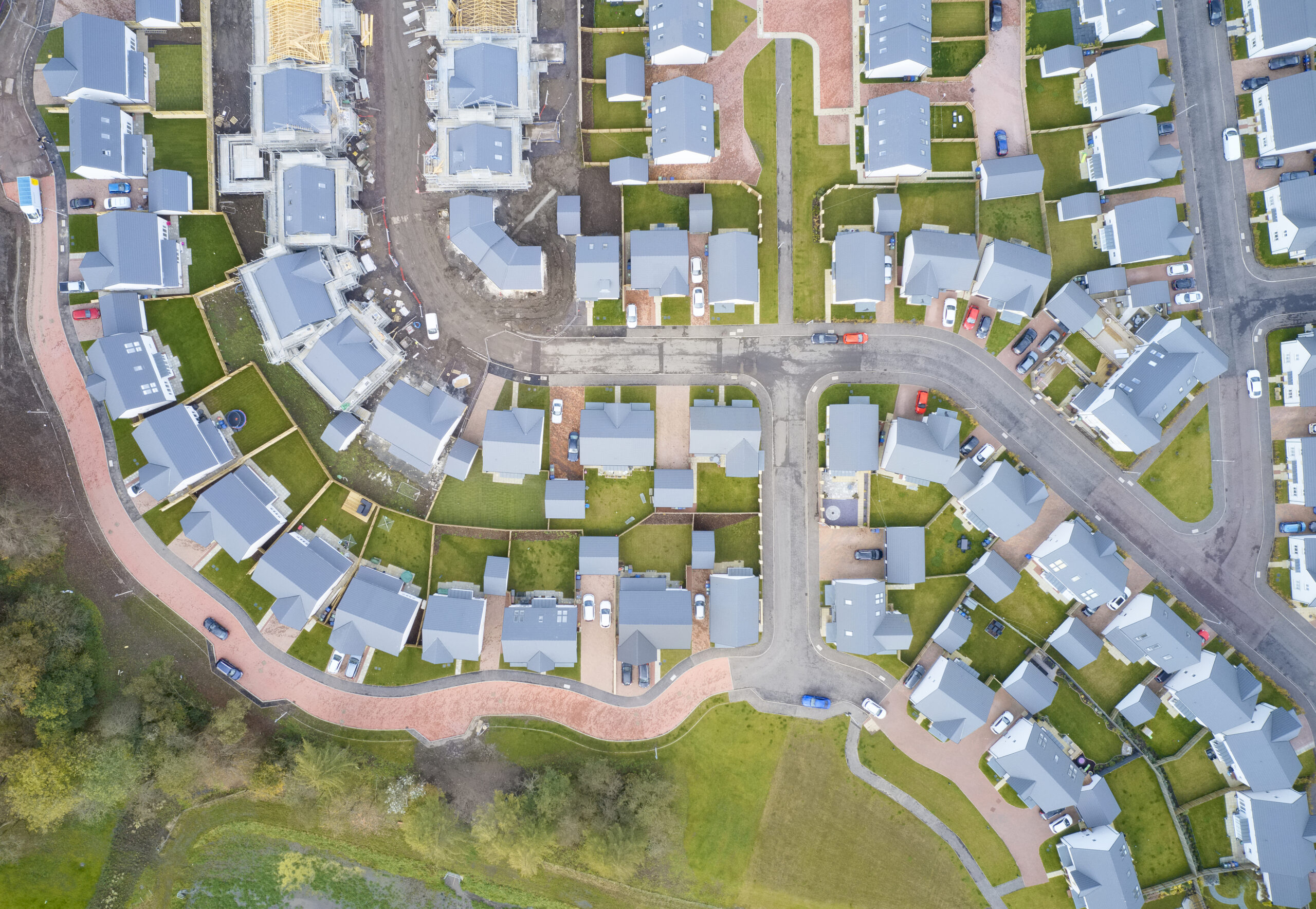 Suburban houses in row aerial view